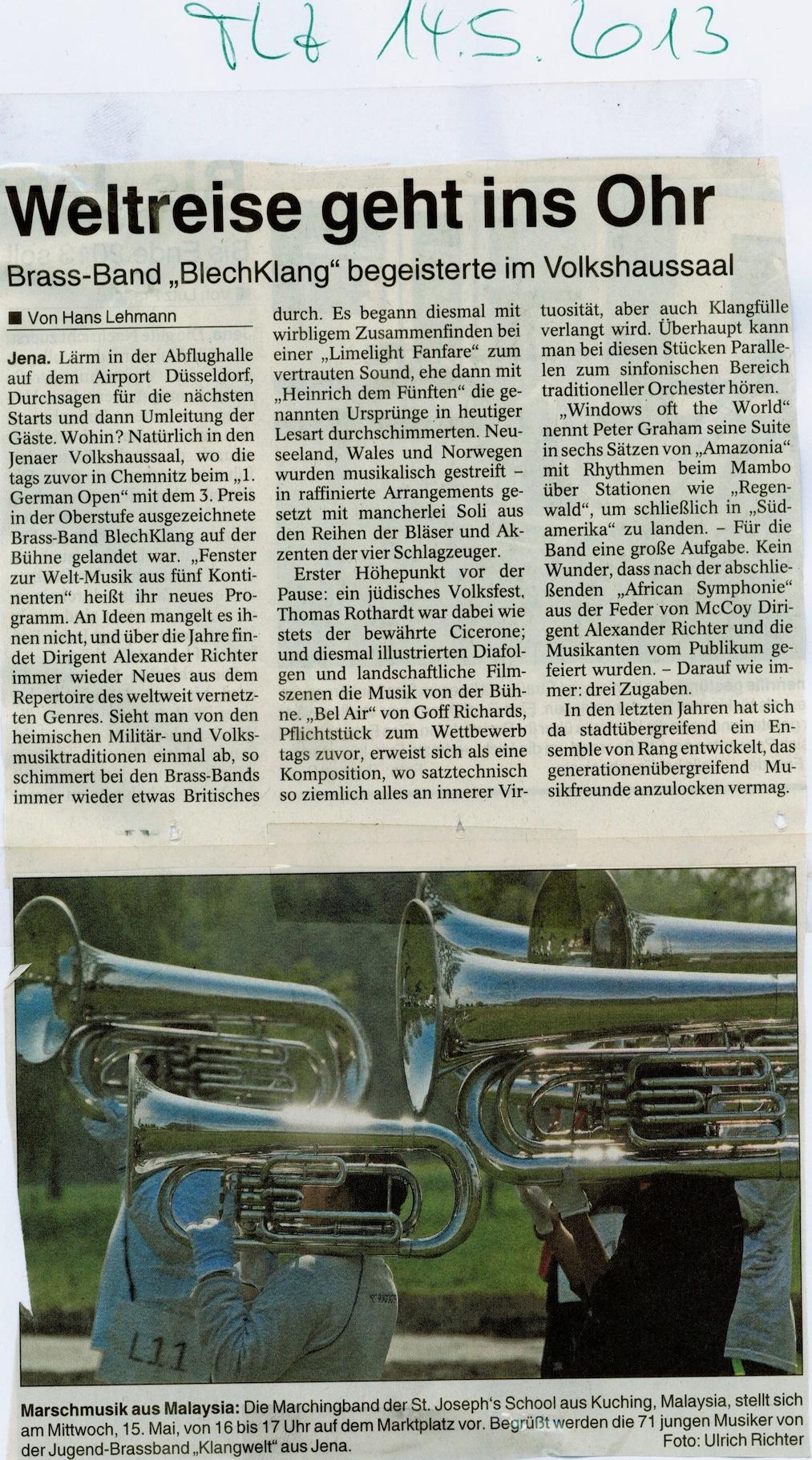 Pressebericht TLZ 14.05.2013