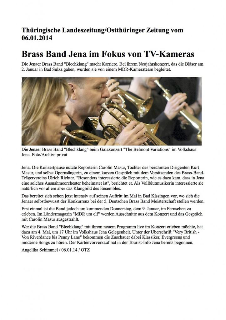 OTZ Brass Band im Fokus TV