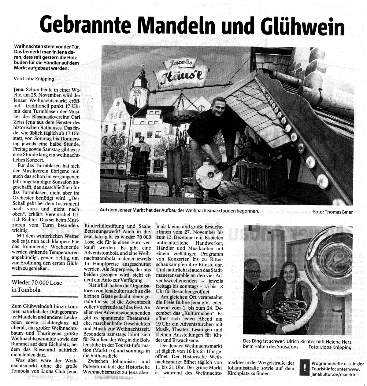 Artikel aus der TLZ vom 18.11.2015 zum Jenaer Weihnachtsmarkt und dem traditionellen Turmblasen