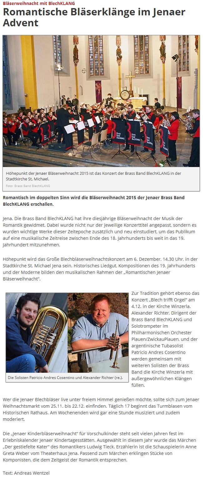 Online-Artikel vom 05.11.2015 von Jenaer Nachrichten zu unserer Bläserweihnacht 2015