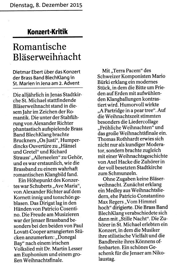"""Artikel aus der Ostthüringer Landeszeitung vom 08. Dezember 2015 zu unserer """"Romantischen Bläserweihnacht"""" in der Jenaer Stadtkirche am 06. Dezember 2015"""