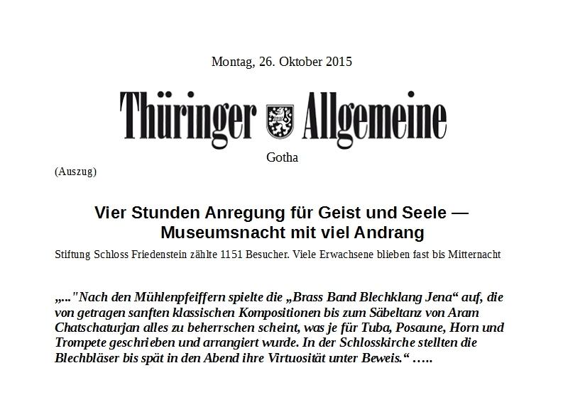 Artikel aus der Thüringer Allgemeinen zum Auftritt des Solistenensembles der Brass Band BlechKLANG bei der Gothaer Nacht der Museen