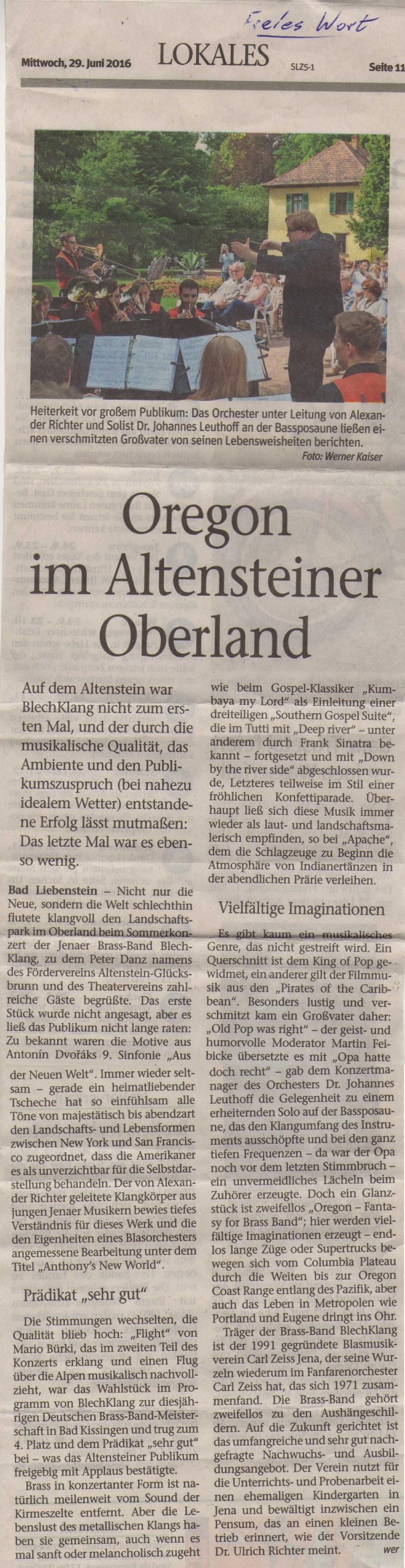 Artikel aus dem Freien Wort vom 29. Juni 2016 zu unserem Sommerkonzert auf Schloss Altenstein