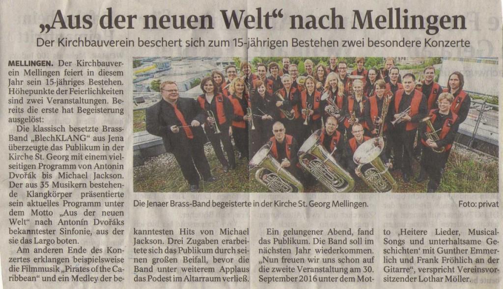Artikel aus der TA vom 15. Juni 2016 zu unserem Sommerkonzert in Mellingen