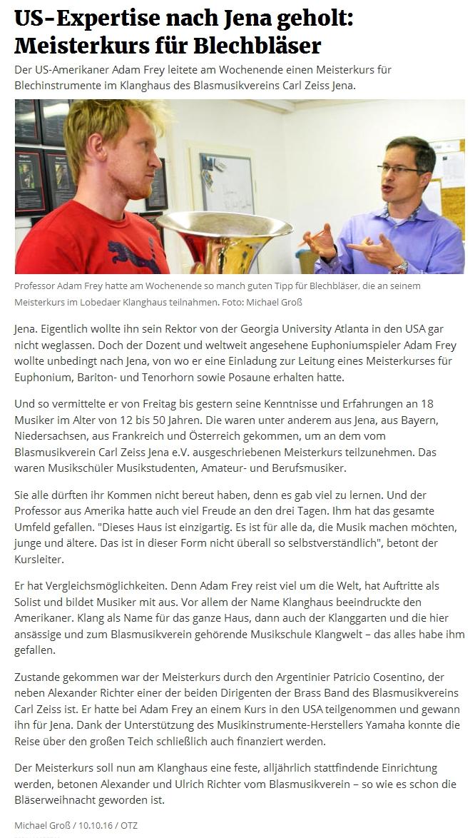 Artikel aus der OTZ zum Meisterkurs mit Adam Frey