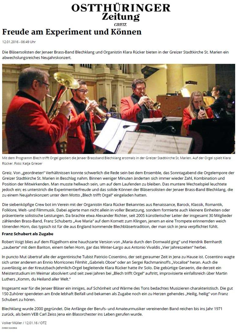 Kritik Blech trifft Orgel Greiz