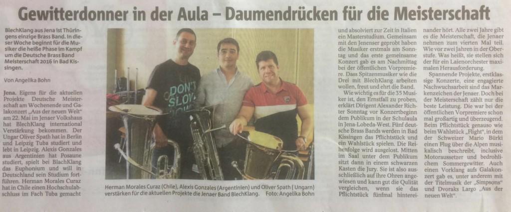 OTZ-Artikel zur Vorbereitung auf die Deutsche Meisterschaft