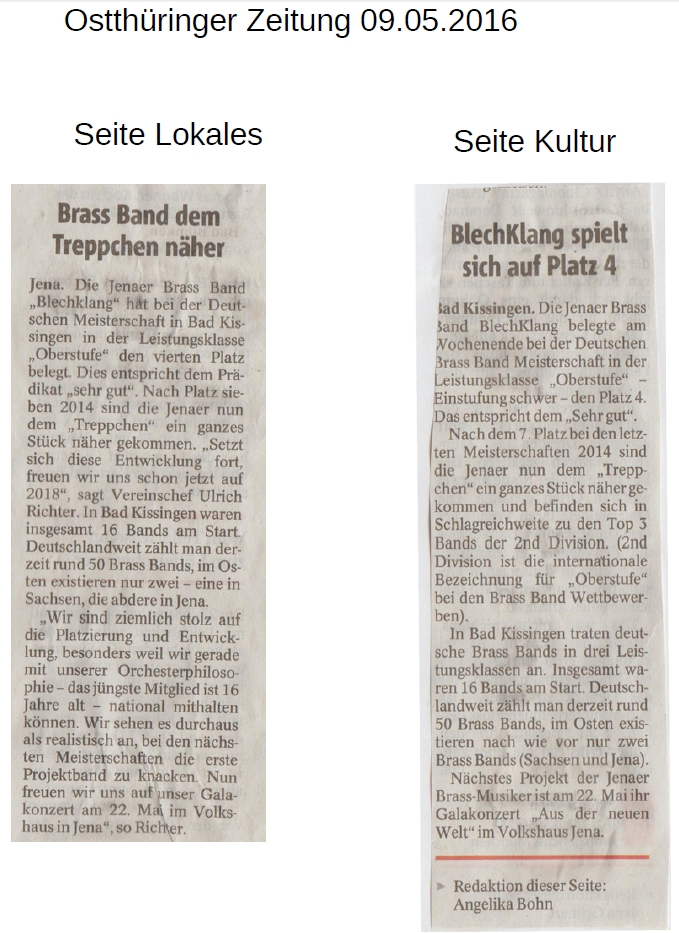 Artikel aus der Ostthüringer Zeitung vom 09.05.2016 zur Deutschen Brass Band Meisterschaft in Bad Kissingen