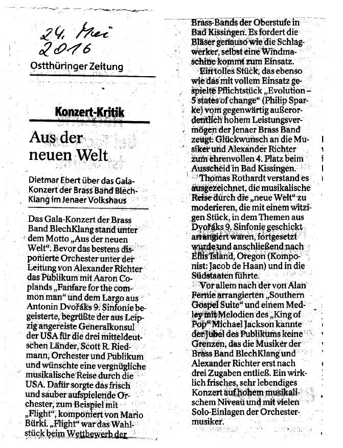 """Artikel aus der OTZ vom 24. Mai 2016 zu unserem Galakonzert """"Aus der neuen Welt"""""""