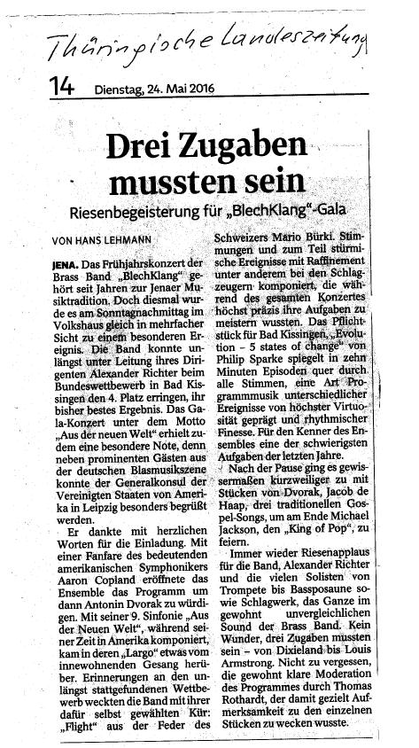 """Artikel aus der TLZ vom 24. Mai 2016 zu unserem Galakonzert """"Aus der neuen Welt"""""""