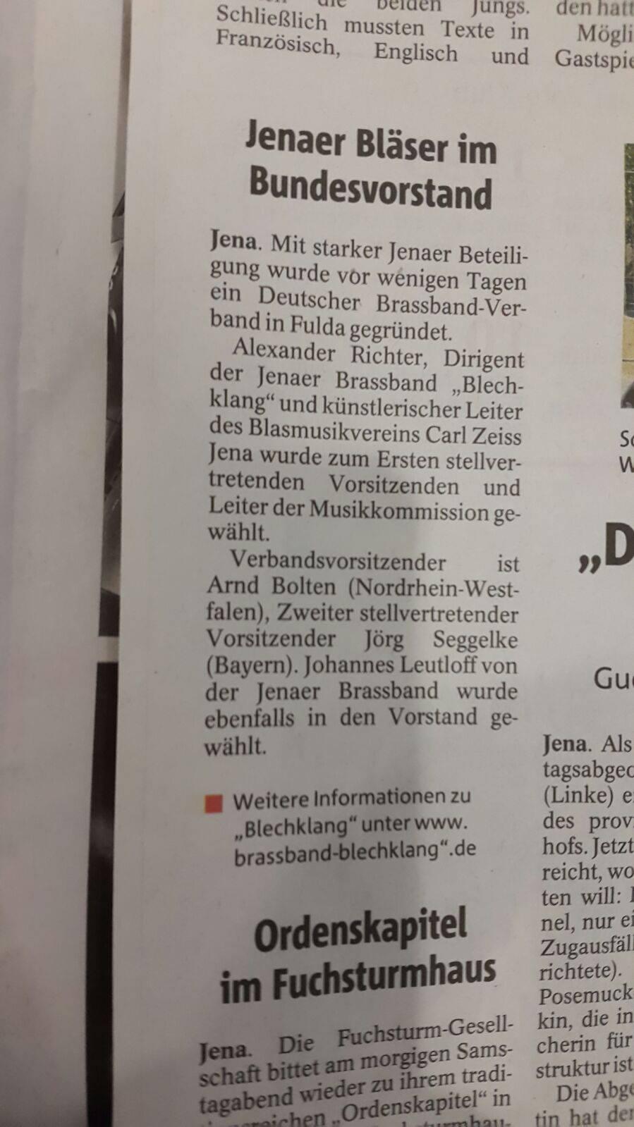 Artikel OTZ zur Gründung des Deutschen Brass Band Verbands