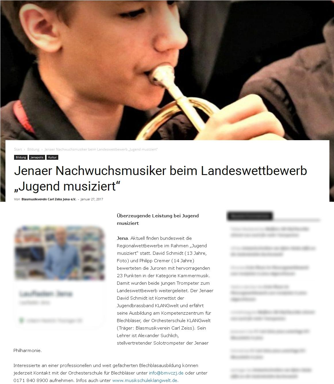Online-Artikel zur Teilnahme eines Mitglieds der Jugendbrassband KLANGwelt bei Jugend musiziert