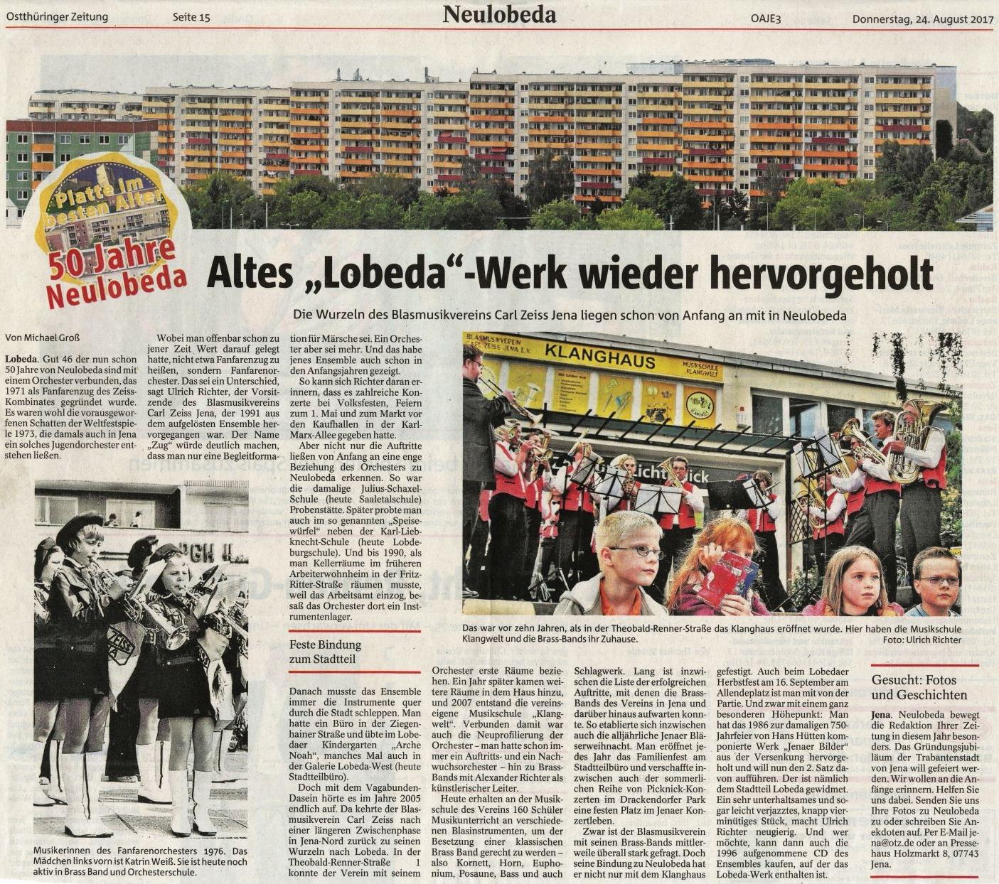 Artikel aus der OTZ vom 24.08.2017 zur Verbindung unseres Trägervereins, dem Blasmusikverein Carl Zeiss Jena, zum Stadtteil Neulobeda in Jena