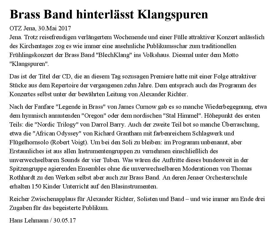"""Artikel der OTZ vom 30.05.2017 zu unserem Galakonzert """"KLANGspuren"""""""