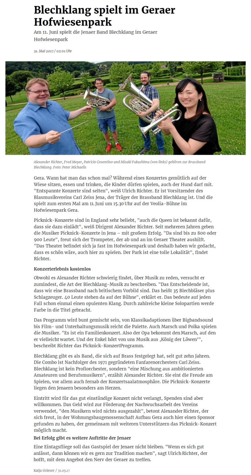Online-Artikel aus der OTZ zum 1. Picknickkonzert in Gera