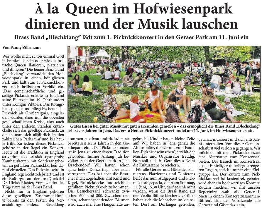 Artikel aus Neues Gera zum 1. Geraer Picknickkonzert