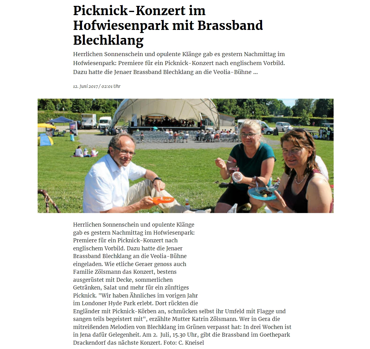 Online-Artikel aus der OTZ zum 1. Geraer Picknickkonzert