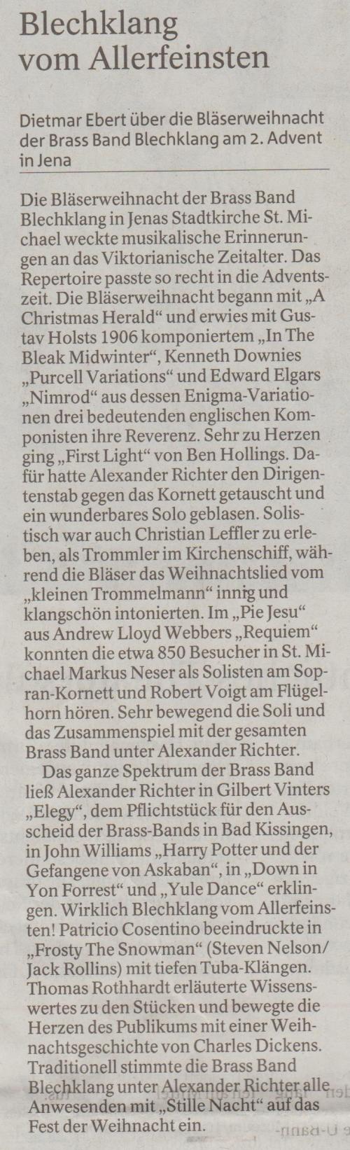 Kritik Bläserweihnacht Brass Band BlechKLANG OTZ