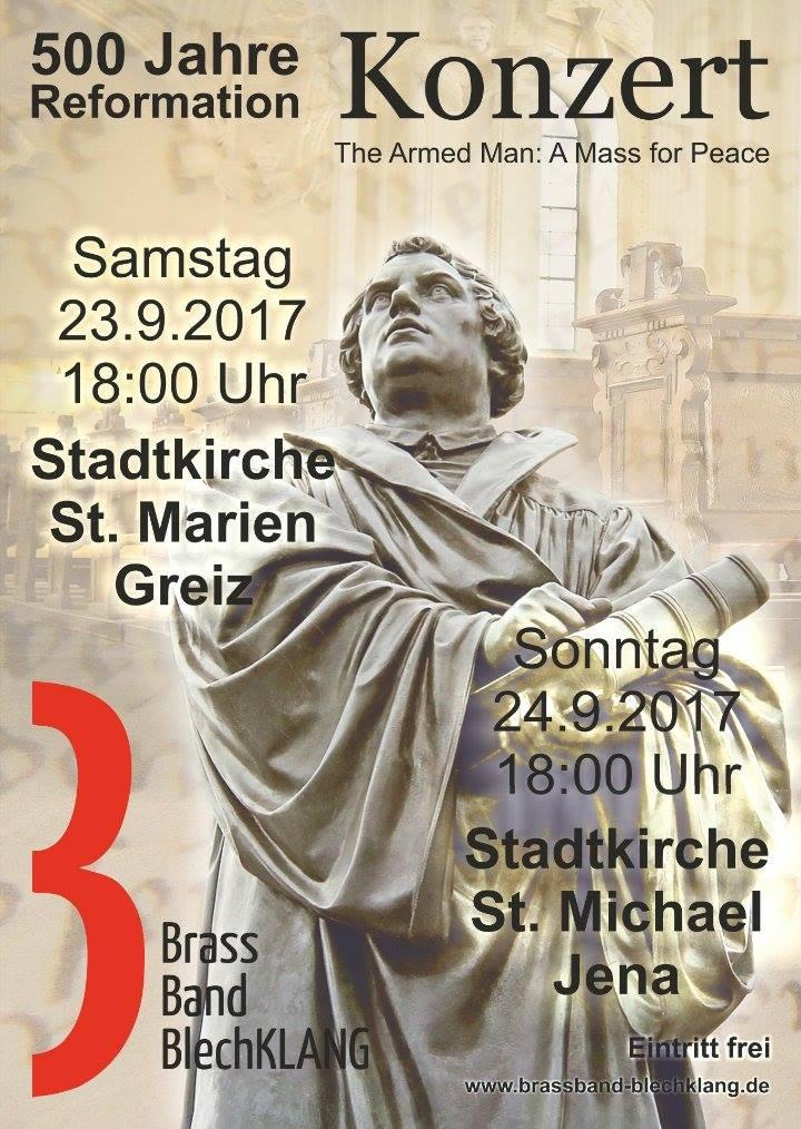 Brass Band BlechKLANG spielt Festkonzerte in Jena und Greiz zum Reformationsjubiläum