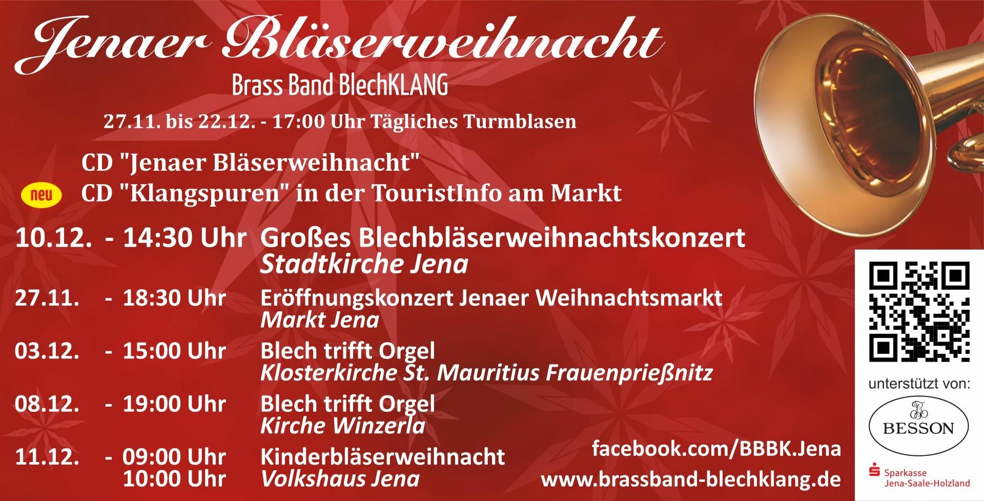 Brass Band BlechKLANG Programm der Bläserweihnacht 2017