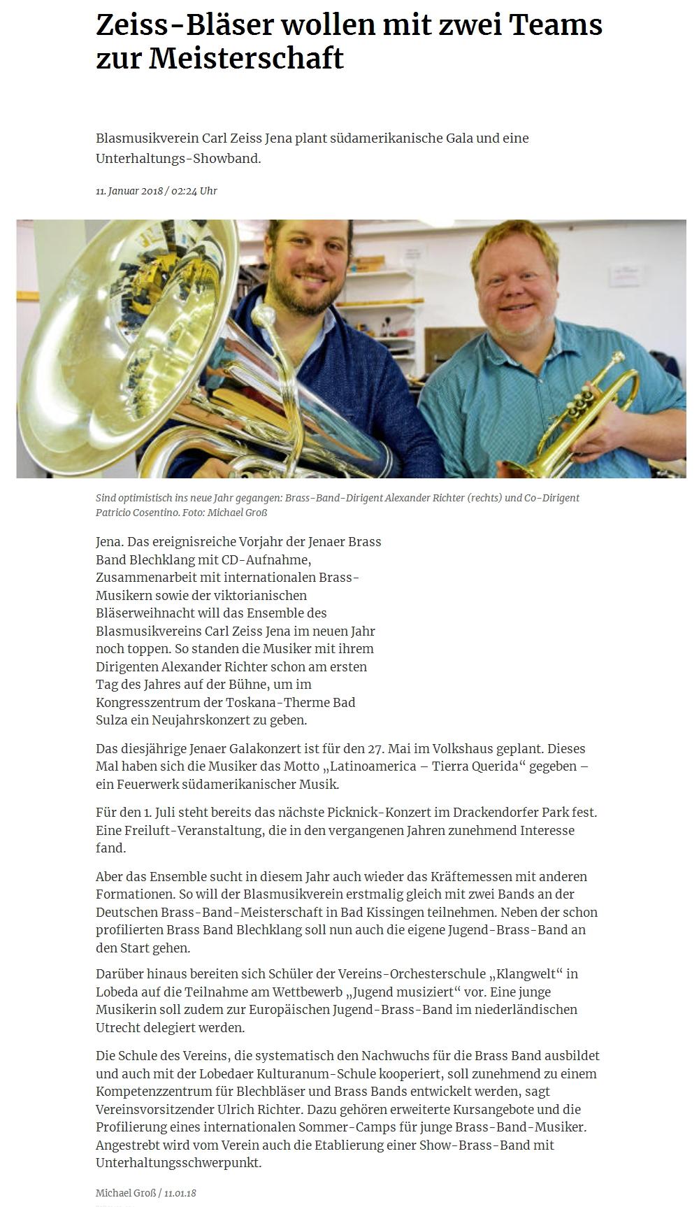 Artikel OTZ Pläne der Brass Band BlechKLANG für 2018