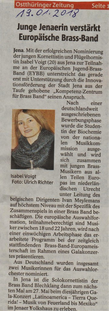 Artikel OTZ Teilnahme Isabel Voigt International Youth Brass Band
