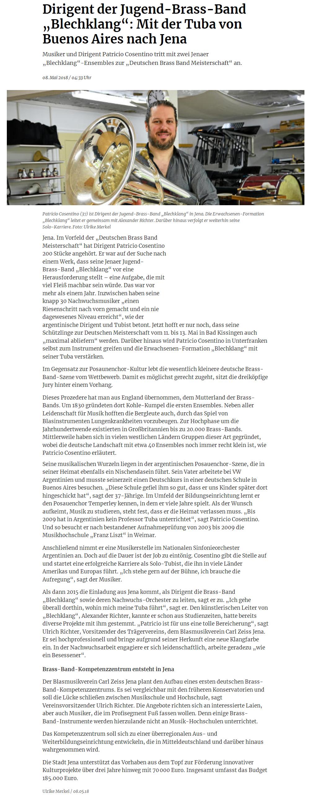 Artikel aus der TA über Patricio Cosentino vor der Deutschen Brass Band Meisterschaft 2018