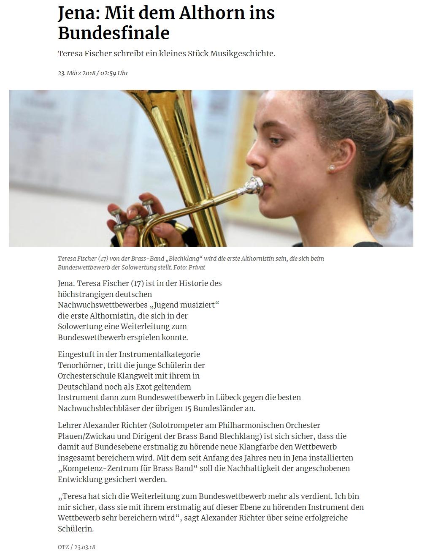 Artikel aus der TLZ über Teresa Fischer, Schülerin der Orchesterschule KLANGwelt, die als erste Althornistin am Bundeswettbewerb Jugend musiziert teilnimmt