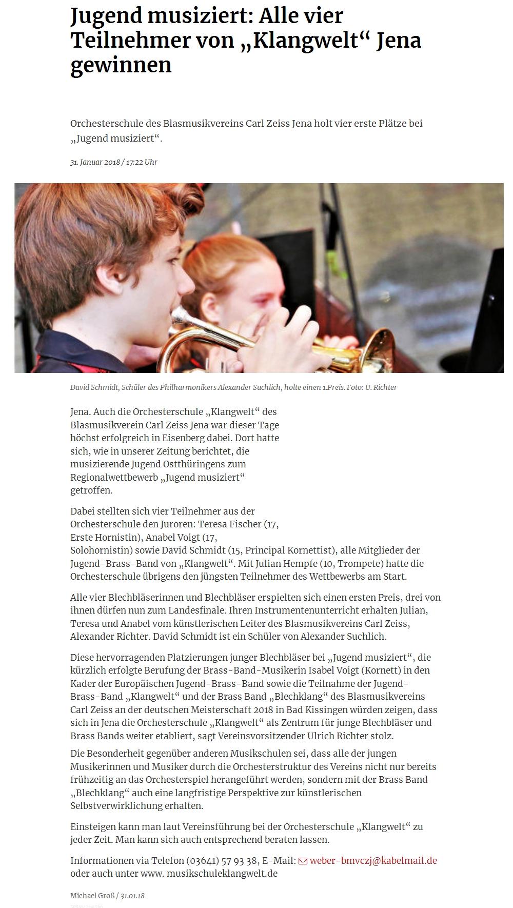 Artikel aus der OTZ über die erfolgreiche Teilnahme der Schüler der Orchesterschule KLANGwelt am Regionalwettbewerb Jugend musiziert 2018