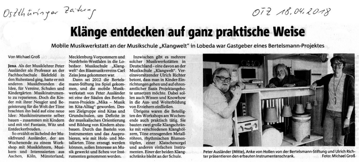 Artikel aus der OTZ über einen Workshop zur Vorbereitung des neuen Angebots Mobile Musikwerkstatt an der Orchesterschule KLANGwelt