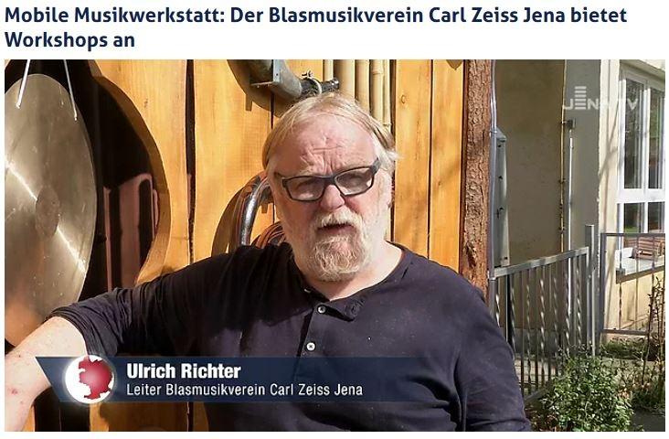 Beitrag von JenaTV über die Teilnahme des Blasmusikvereins Carl Zeiss Jena am Projekt Mobile Musikwerkstatt