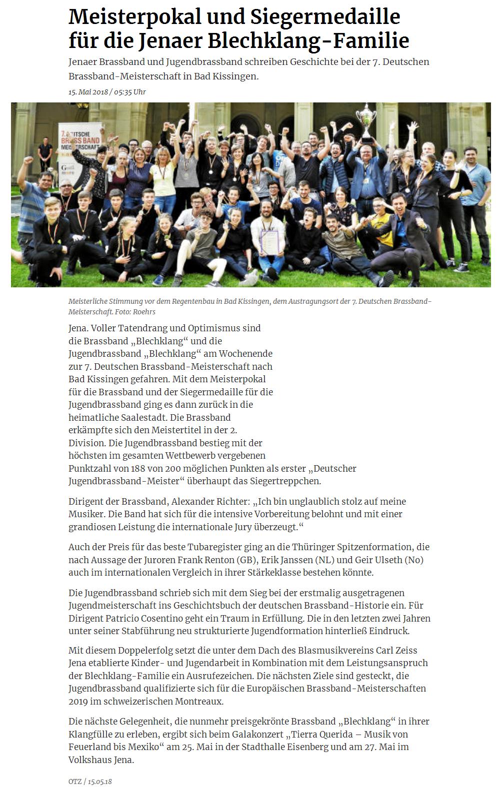 Online-Artikel der OTZ über die Erfolge der Brass Band BlechKLANG und der Jugend Brass Band BlechKLANG bei der Deutsche Brass Band Meisterschaft 2018