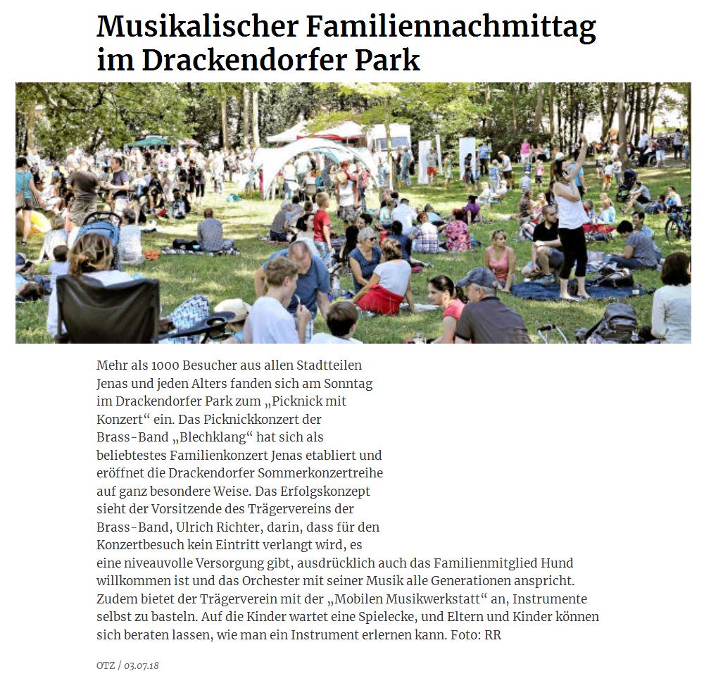 Online-Artikel der OTZ vom 03. Juli 2018 über das 7. Picknick mit Konzert der Brass Band BlechKLANG am 01. Juli 2018 in Jena