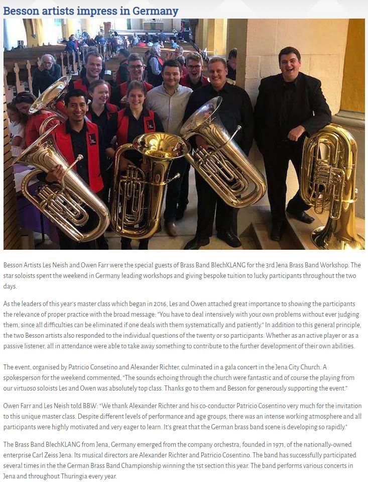Artikel Brass Band World 3. Jenaer Blechbläserseminar mit Owen Farr und Les Neish