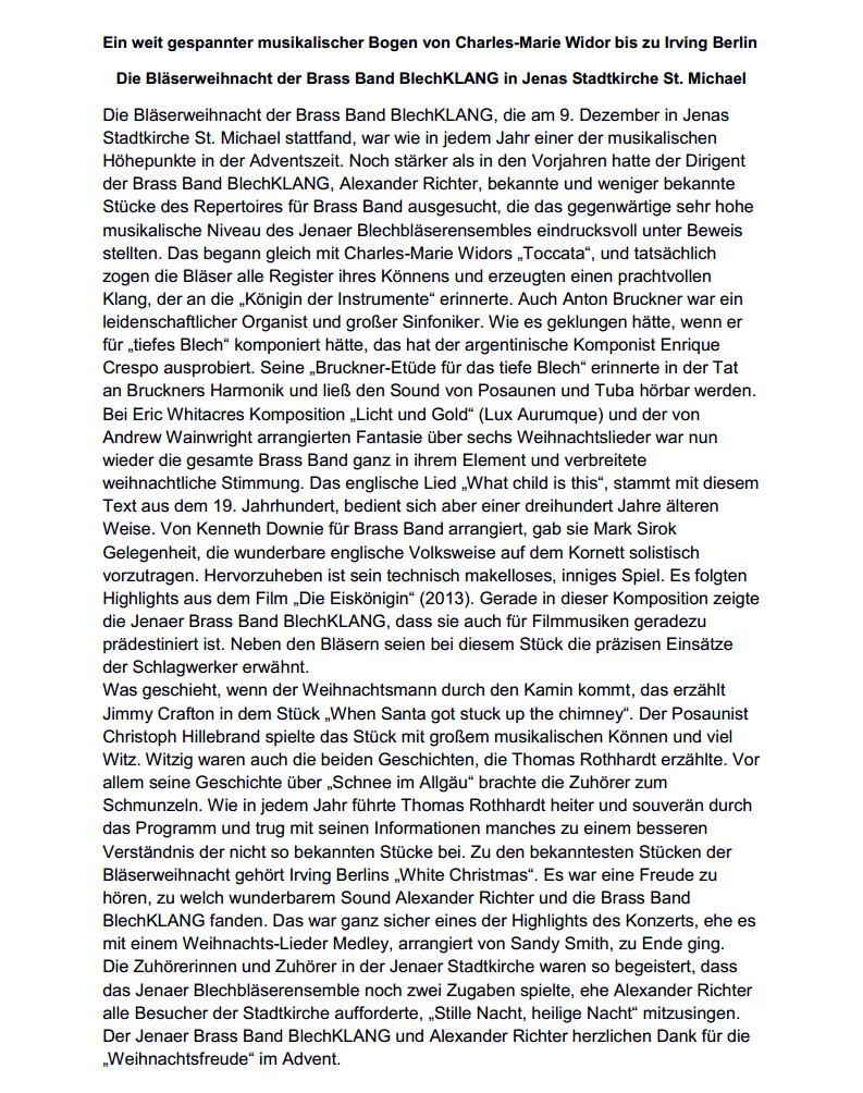 Rezension von Dr. Dietmar Ebert zur Jenaer Bläserweihnacht 2018 der Brass Band BlechKLANG