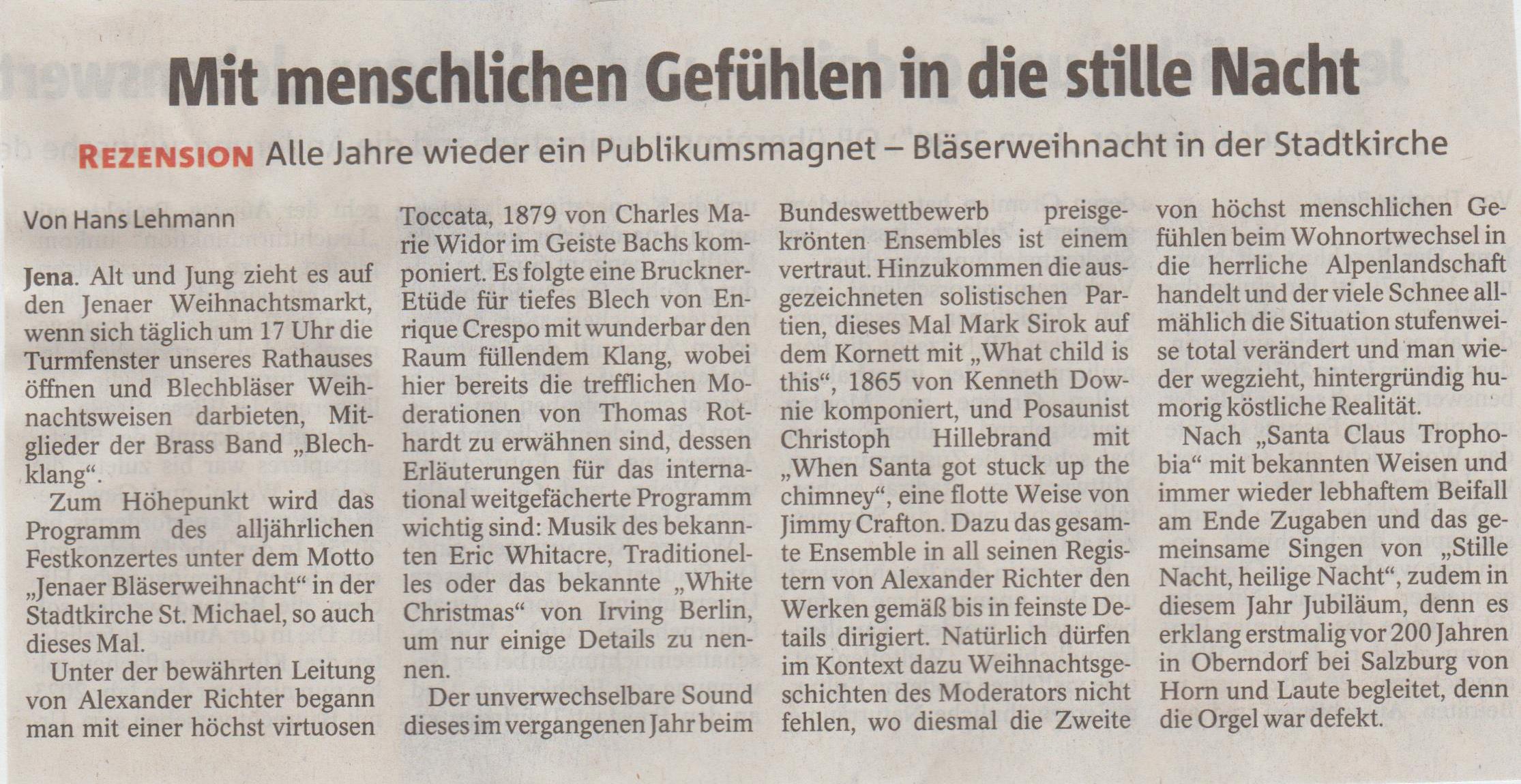 Rezension von Hans Lehmann OTZ und TLZ zur Jenaer Bläserweihnacht 2018 der Brass Band BlechKLANG