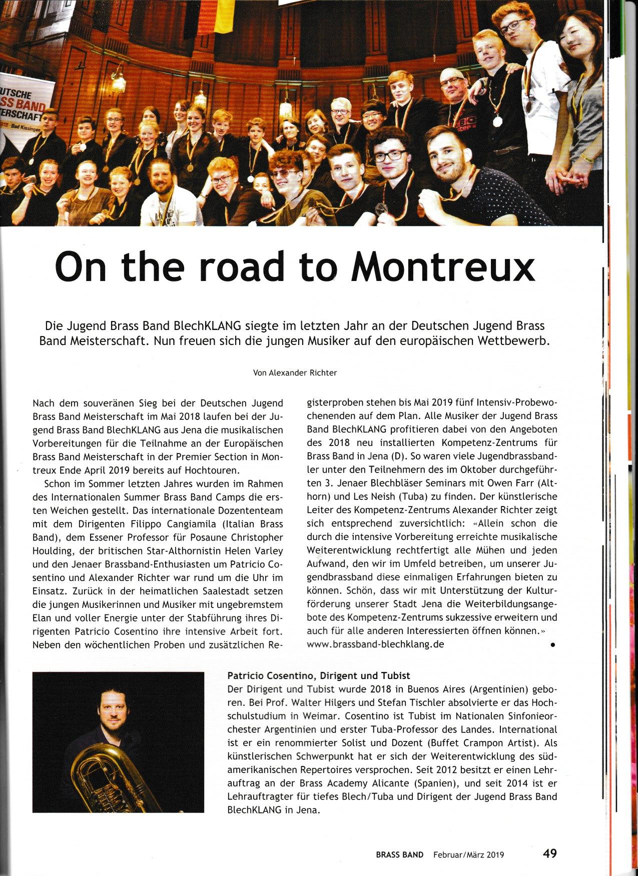 """Artikel im Fachmagazin """"Brass Band"""" über unsere Jugend Brass Band BlechKLANG"""
