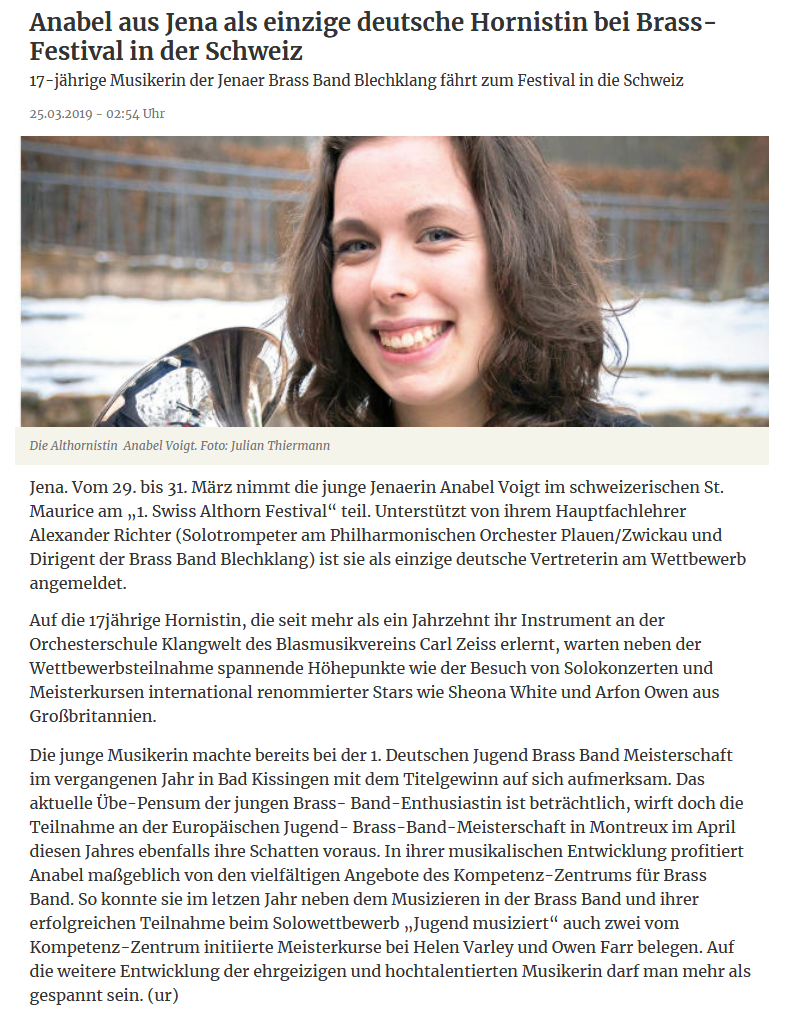 Artikel aus der TLZ über die Teilnahme von Anabel Voigt am Swiss Alto Horn Festival