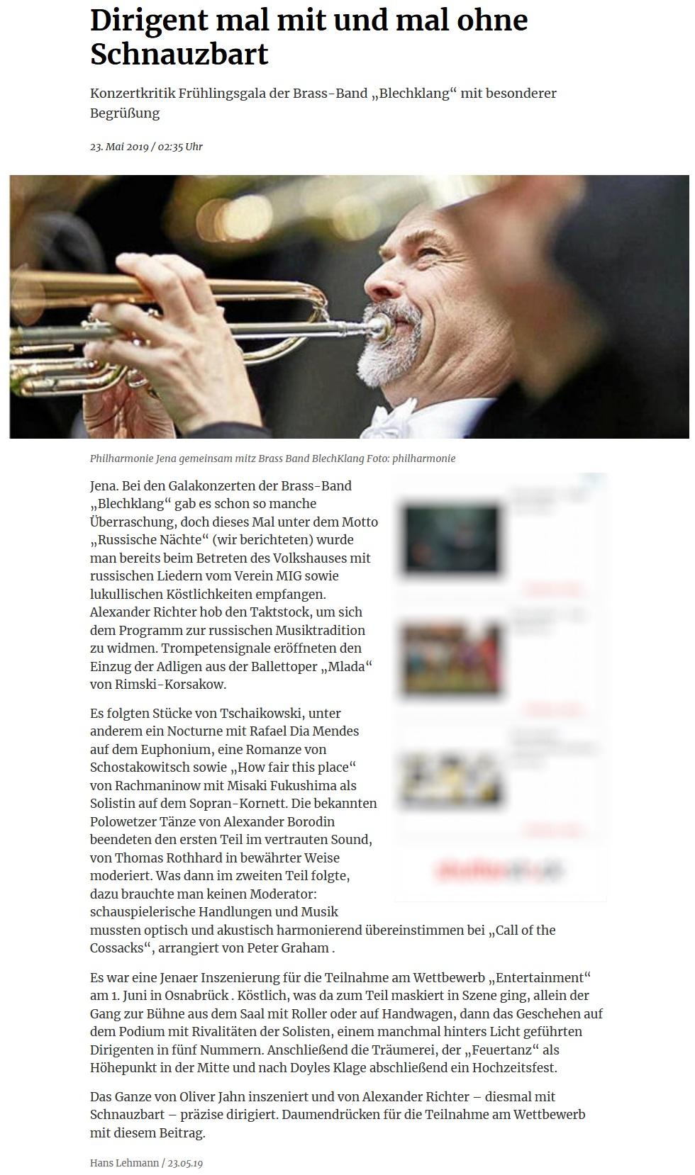 Artikel aus der OTZ über das Galakonzert 2019 der Brass Band BlechKLANG