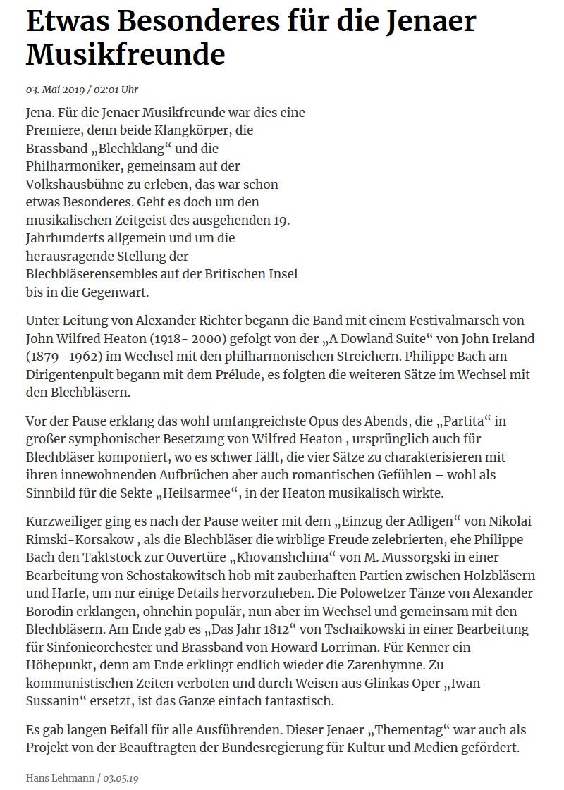 Online-Artikel der OTZ über das gemeinsame Konzert von Brass Band BlechKLANG und Jenaer Philharmonie