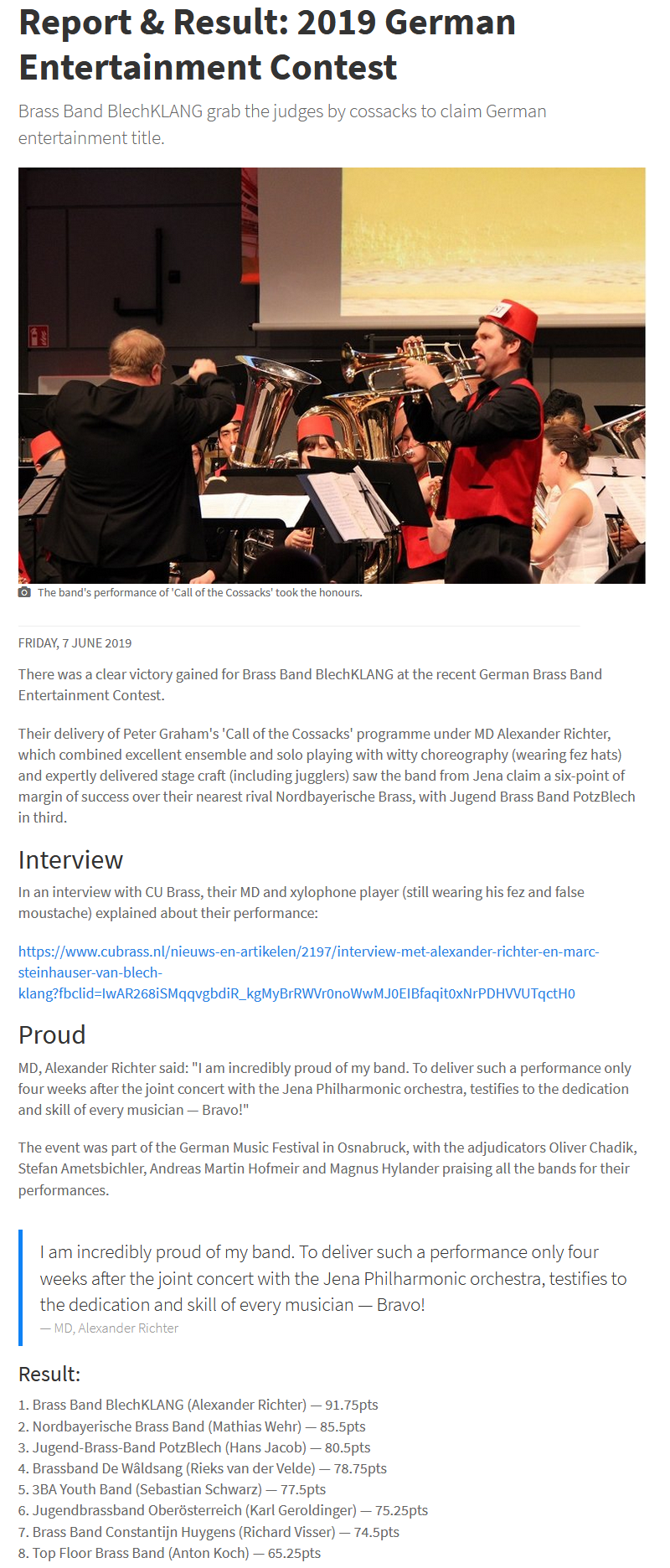 Artikel 4barsrest Brass Band BlechKLANG Entertainment Wettbewerb