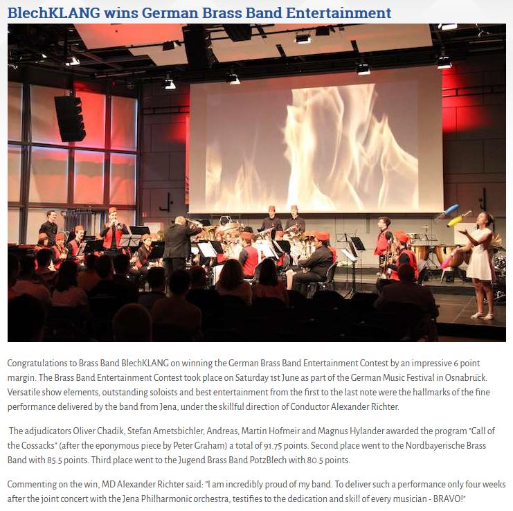 Artikel Brass Band World über die Teilnahme der Brass Band BlechKLANG am Brass Band Entertainment Wettbewerb in Osnabrück