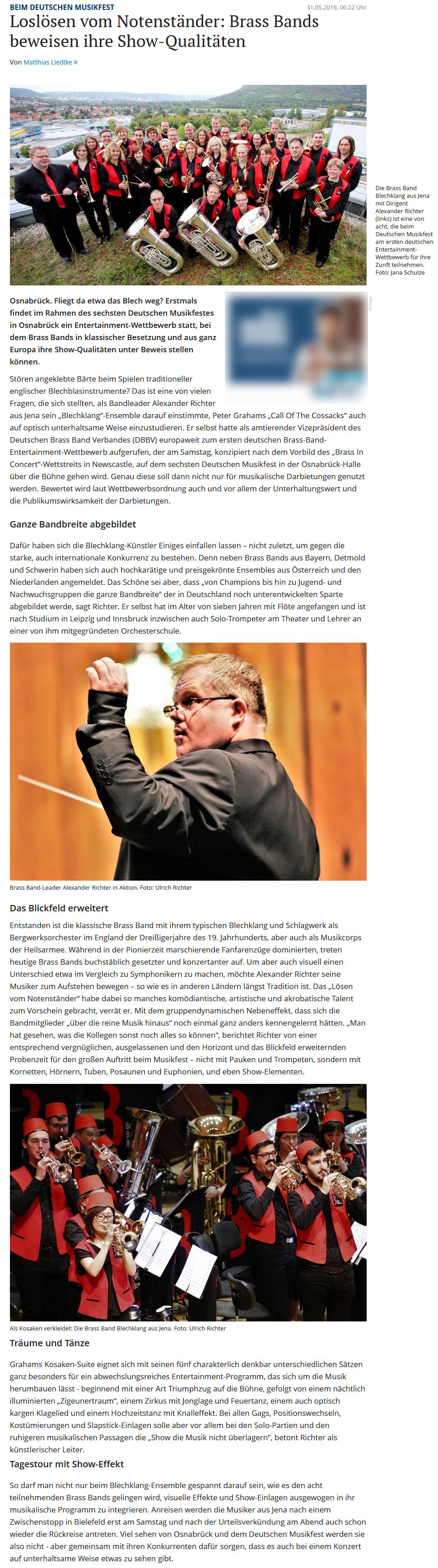 Artikel NOZ über die Teilnahme der Brass Band BlechKLANG am Brass Band Entertainment Wettbewerb in Osnabrück