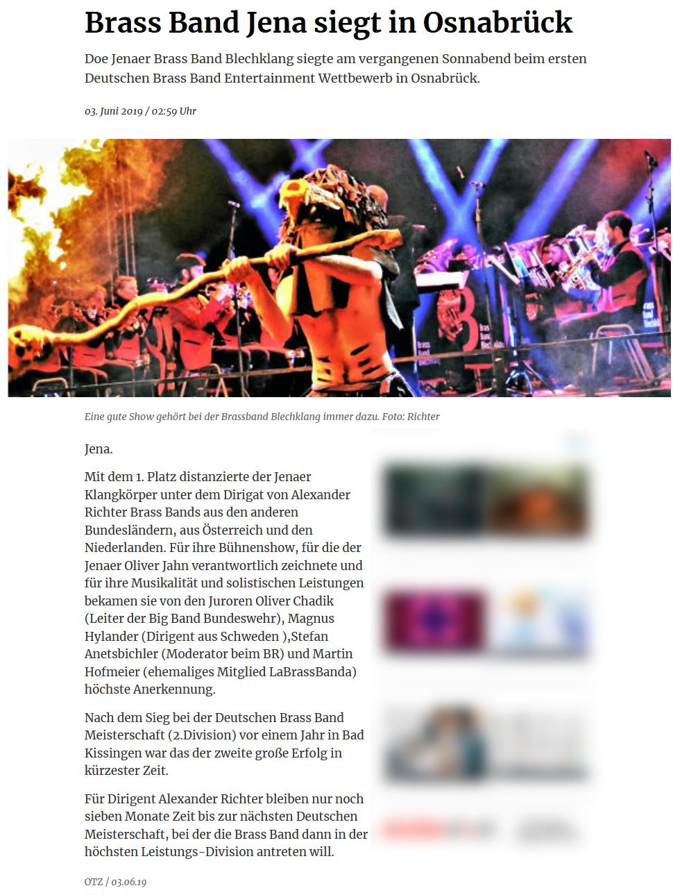 Artikel OTZ zum Sieg der Brass Band BlechKLANG beim Brass Band Entertainment Wettbewerb in Osnabrück
