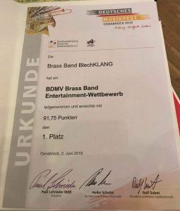 Urkunde Brass Band BlechKLANG Entertainment Wettbewerb