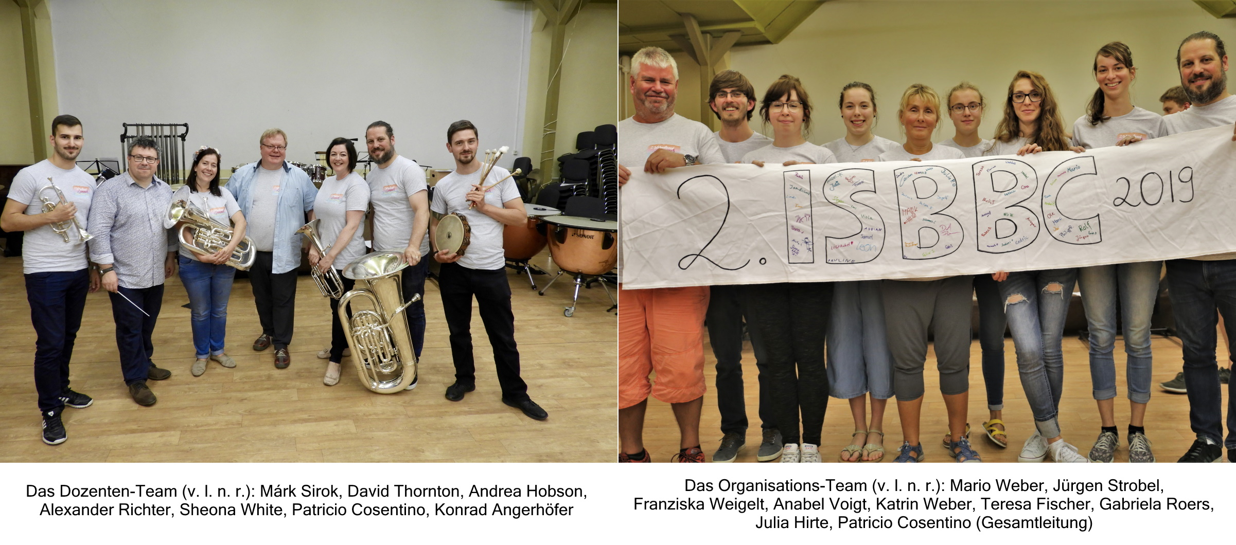 Dozenten und Organisatoren des Internatiol Summer Brass Band Camp ISBBC 2019