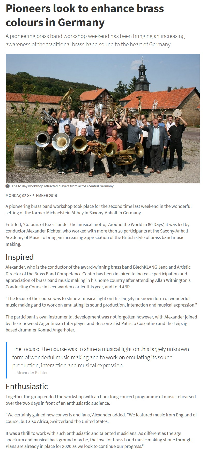 Artikel 4barsrest Brass Band Workshop Kloster Michaelstein Alexander Richter Patricio Cosentino