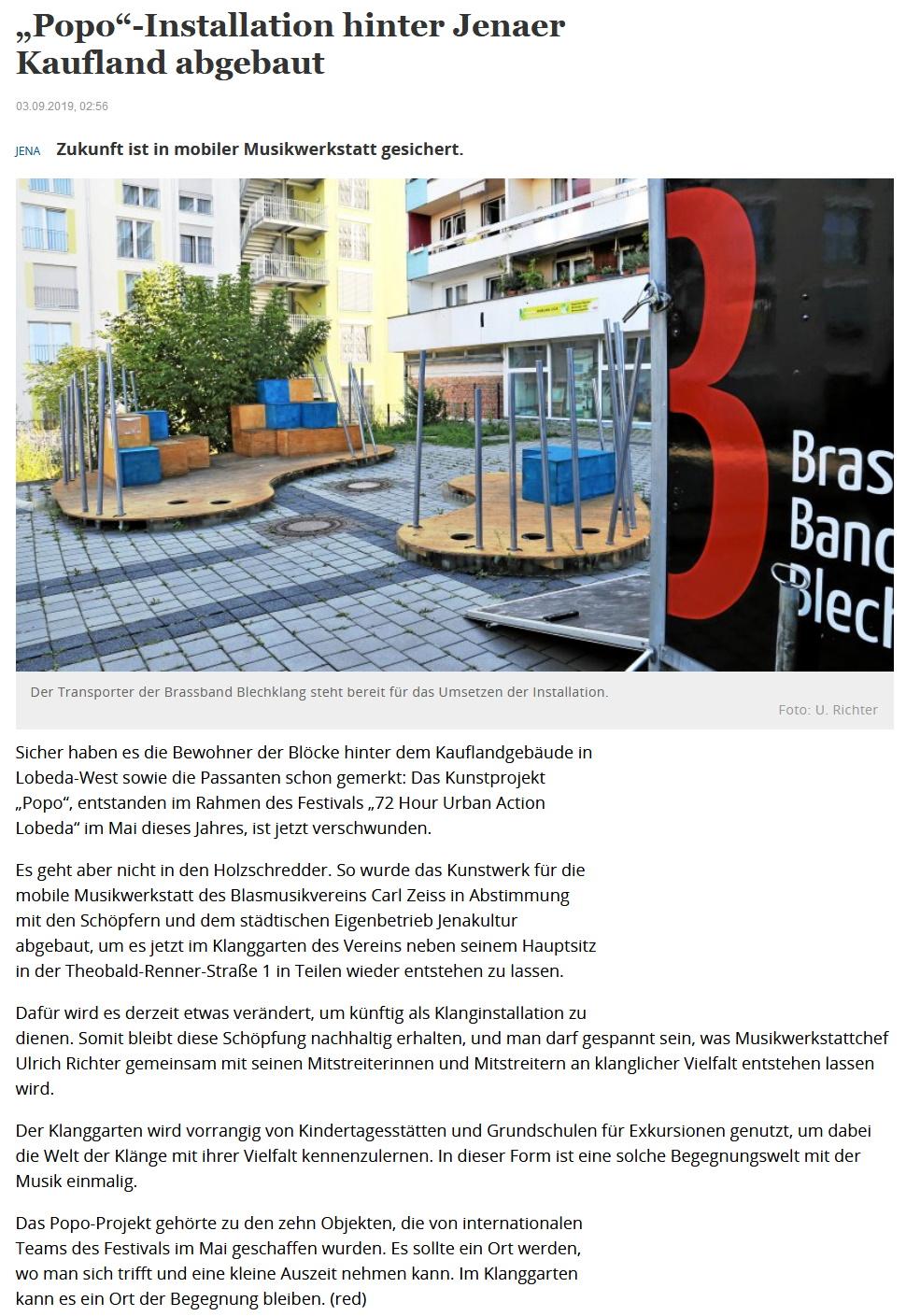 Artikel TLZ über neue Installation in KLANGgarten Orchesterschule KLANGwelt