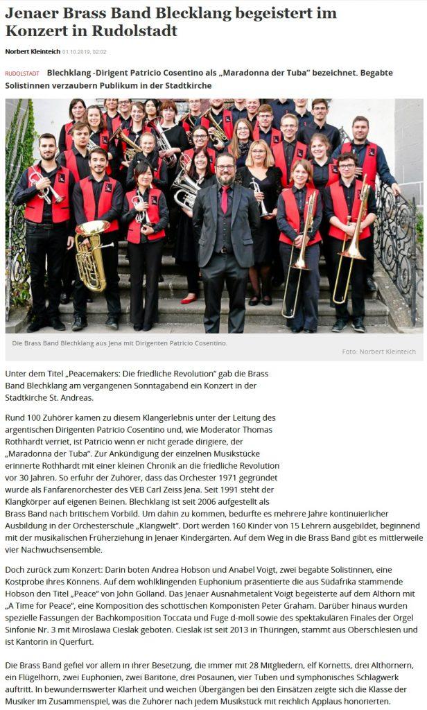 Artikel OTZ Kirchenkonzerte 2019 Brass Band BlechKLANG