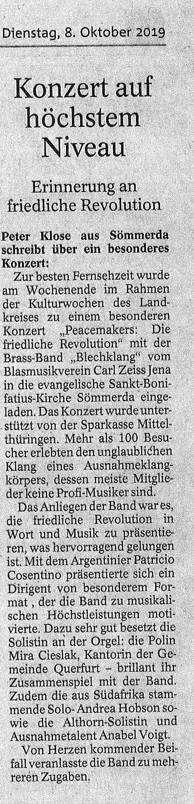 Artikel Thüringer Allgemeine Kirchenkonzerte 2019 Brass Band BlechKLANG